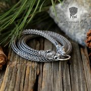 Серебряная цепь «Медведи кусачие» (плетение Викинг) фото 1